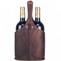 Dryckeshållare i skinn 2 flaskor